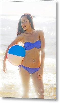 Woman Holding Beach Ball Metal Print