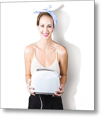 Woman Holding Toaster Metal Print