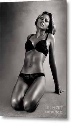 Woman In Black Lingerie Metal Print
