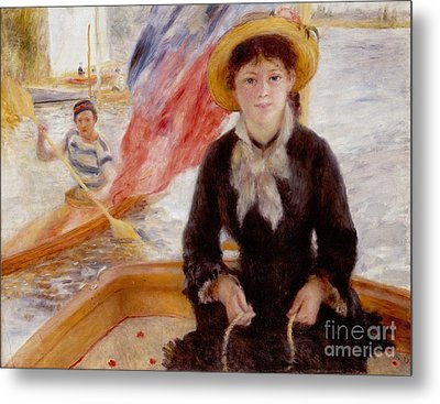 Woman In Boat With Canoeist Metal Print by Renoir