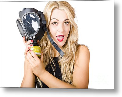 Woman In Fear Holding Gas Mask On White Background Metal Print by Jorgo Photography - Wall Art Gallery