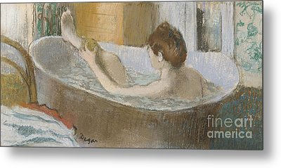 Woman In Her Bath Metal Print by Edgar Degas