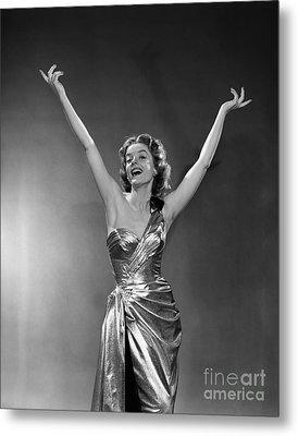 Woman In Metallic Dress, C.1950s Metal Print