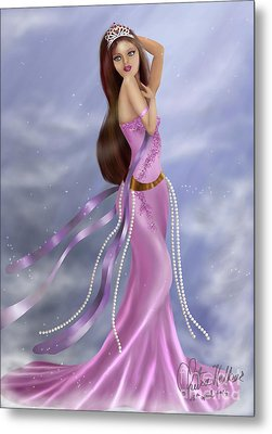 Woman In Pink Gown Metal Print