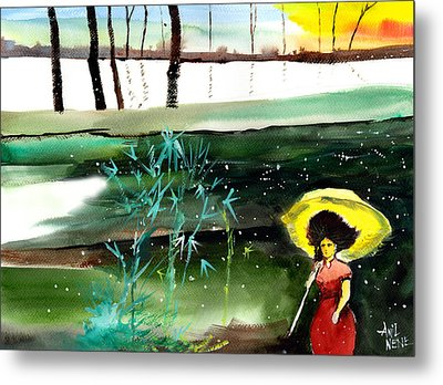 Woman In Red Metal Print by Anil Nene
