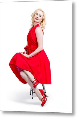 Woman In Romantic Red Dress. Retro Fashion Model  Metal Print by Jorgo Photography - Wall Art Gallery