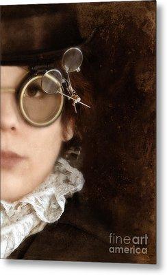 Woman In Steampunk Clothing  Metal Print by Jill Battaglia