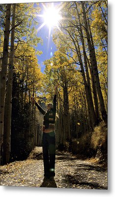 Woman In The Falling Leaves Metal Print by Dawn Kish