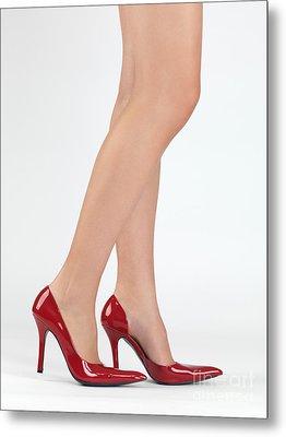 Woman Legs In High Heel Shoes Metal Print by Oleksiy Maksymenko
