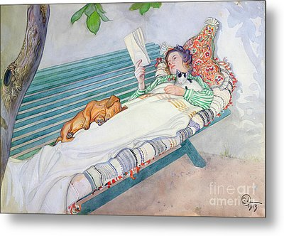 Woman Lying On A Bench Metal Print by Carl Larsson