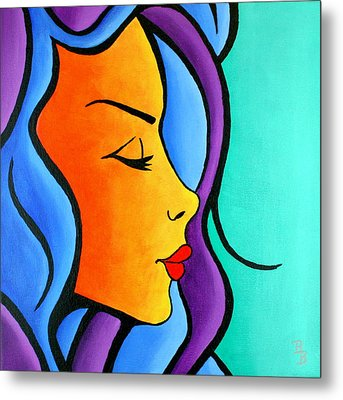Metal Print featuring the painting Woman Of Color, Eyes Closed by Bob Baker