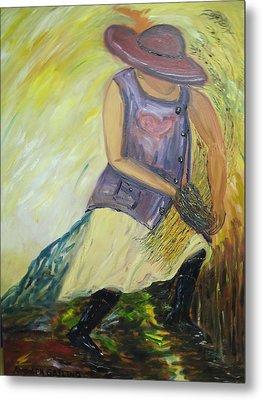 Woman Of Wheat Metal Print