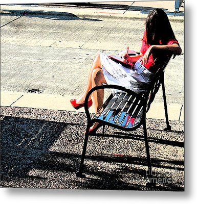 Woman On A Bench Metal Print by Gary Everson