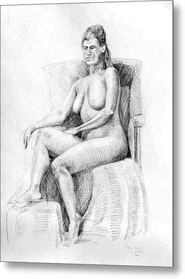 Woman On Chair Metal Print by Mark Johnson