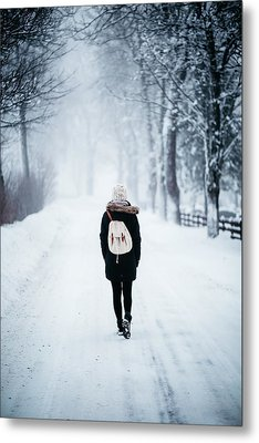 Woman On Path With Spooky Trees In Winter Metal Print