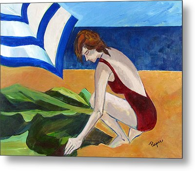 Woman On The Beach Metal Print by Betty Pieper