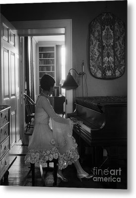 Woman Playing The Piano, C.1920s Metal Print