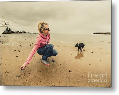 Woman Playing With Dog Metal Print by Jorgo Photography - Wall Art Gallery