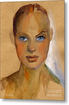 Woman Portrait Sketch Metal Print by Svetlana Novikova