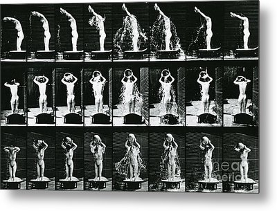 Woman Pouring A Basin Of Water Over Her Head Metal Print