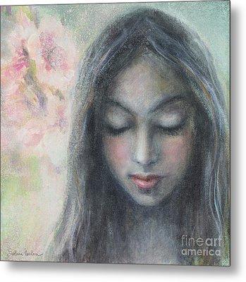Woman Praying Meditation Painting Print Metal Print by Svetlana Novikova