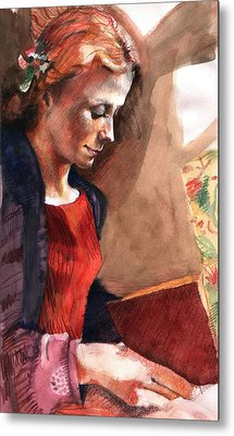 Woman Reading Metal Print by Ellen Dreibelbis