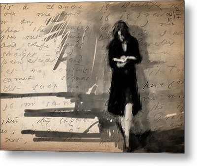 Woman Reading Metal Print by H James Hoff