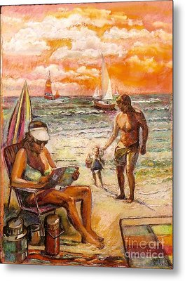 Woman Reading On The Beach Metal Print