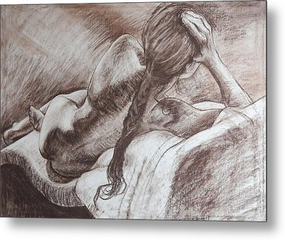 Woman Reclining Metal Print