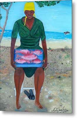 Metal Print featuring the painting Woman Selling Red Snapper by Nicole Jean-louis