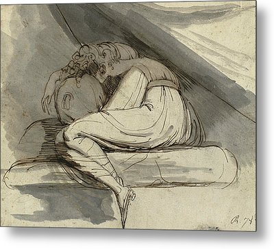 Woman Sitting Curled Up Metal Print by Henry Fuseli