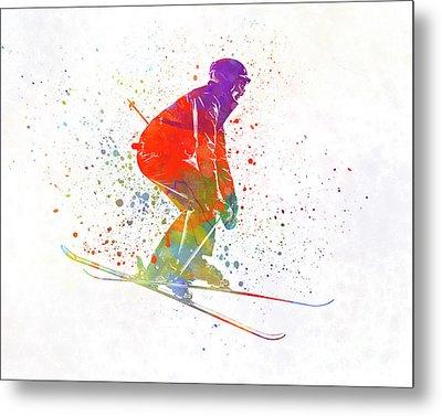 Woman Skier Skiing Jumping 02 In Watercolor Metal Print