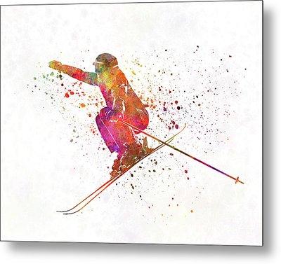 Woman Skier Skiing Jumping 03 In Watercolor Metal Print