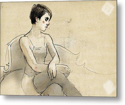 Woman Waiting Metal Print by H James Hoff