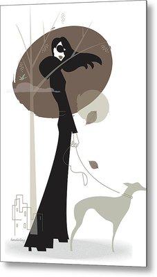 Woman Walking Dog Metal Print by Lisa Henderling