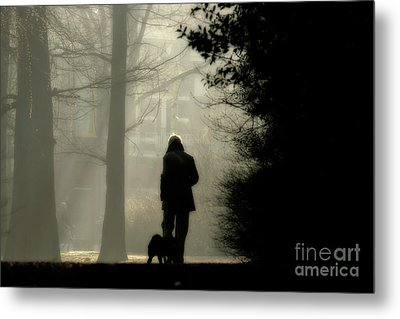 Metal Print featuring the photograph Woman Walking Dog by Patricia Hofmeester