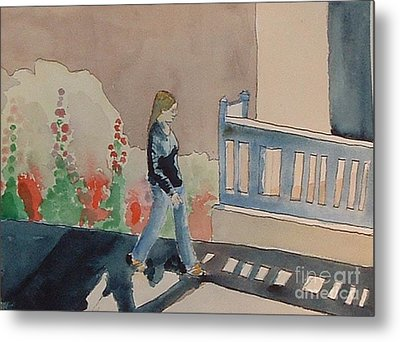 Woman Walking Down Nusbaum Street Metal Print
