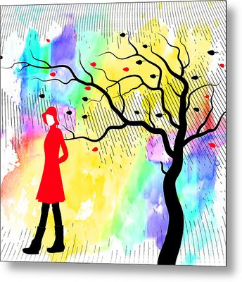 Woman Walking In Blustery Fall Rain With Colorful Watercolor Background Metal Print by Serena King