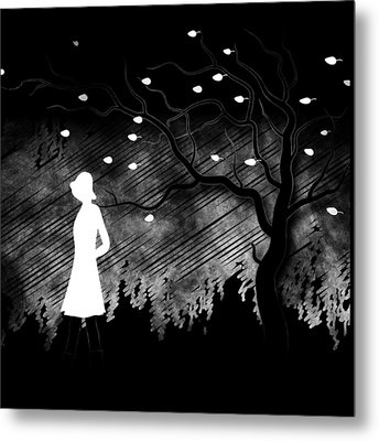 Woman Walking In Blustery Fall Scene - Black And White Metal Print