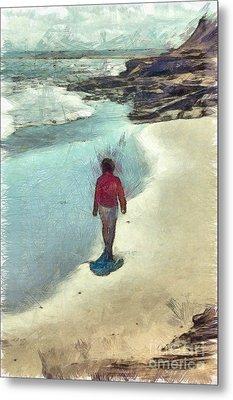 Woman Walking On The Beach Pei Metal Print
