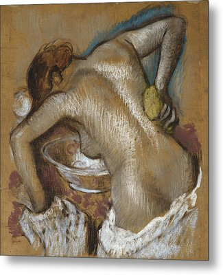 Woman Washing Her Back With A Sponge Metal Print