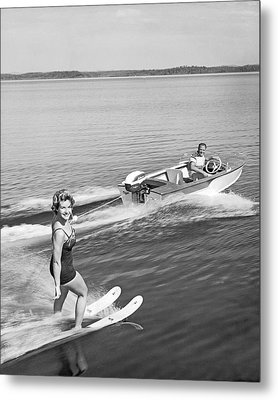 Woman Water Skiing Metal Print by Underwood Archives