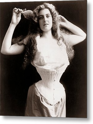 Woman Wearing Corset Metal Print