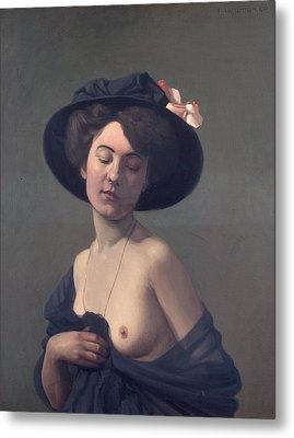 Woman With A Black Hat Metal Print by Felix Vallotton