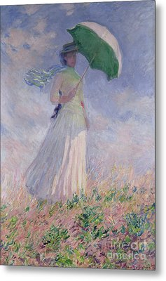 Woman With A Parasol Turned To The Right Metal Print