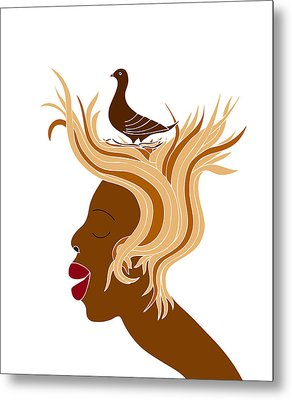 Woman With Bird Metal Print by Frank Tschakert