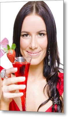 Woman With Cocktail Celebrating A Happy New Year Metal Print