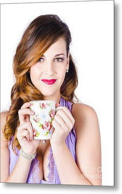 Woman With Cup Of Coffee Metal Print by Jorgo Photography - Wall Art Gallery