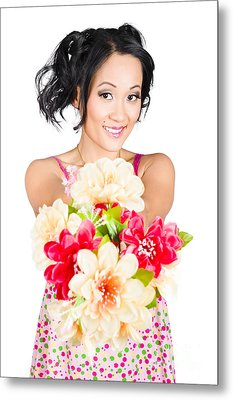Woman With Flower Arrangement. Valentines Day Gift Metal Print