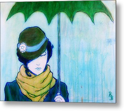 Metal Print featuring the painting Woman With Green Umbrella by Bob Baker
